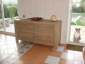 Meuble, buffet 2 portes, contemporain, chène, noeud