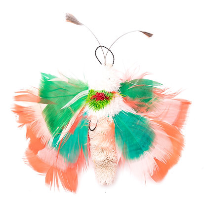 One of a Kind Green and Peach Moth