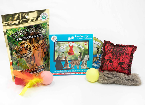 Cat Dreams DVD, Tiger Grass and GO CAT Treats