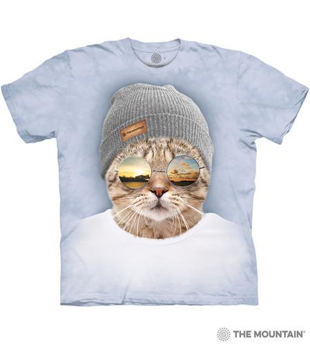 63e6f729 Cool Hipster Cat Adult Unisex T-Shirt