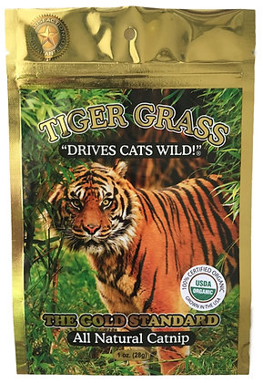 Tiger Grass Catnip 1oz Gold Foil Bag