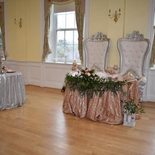 Blush and Silver sequin tablecloth