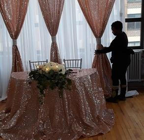 Double panel backdrop with matching tablecloth