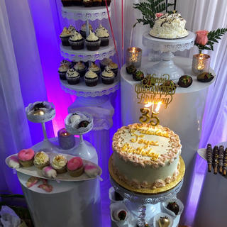 White Round cake stand columns 5 prices available