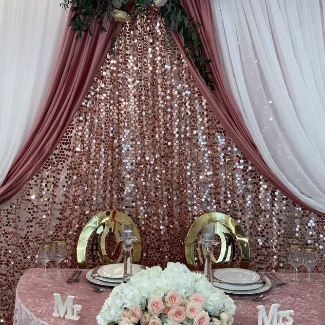 Large petals sequin backdrop double panel