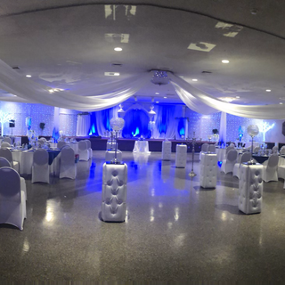 Roof draping and White Leather columns