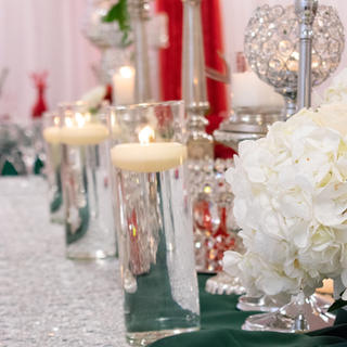 Table and floral arrangement