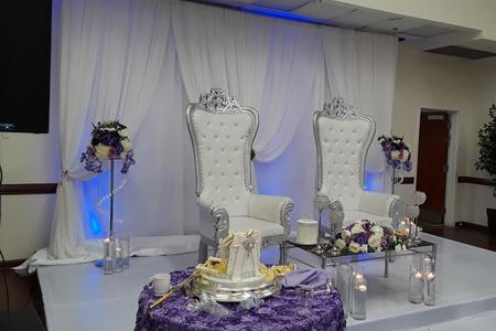 Double panel backdrop , Throne chairs, Crystal flower stand