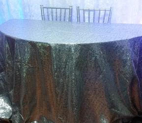 Silver sequin tablecloth available in gold