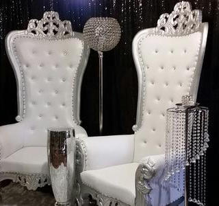SILVER CHAIRS,  Silver chandelier stand, Silver columns.   Two of each available