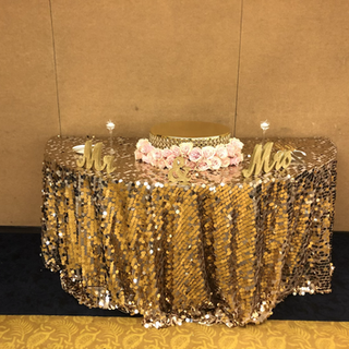 Gold large sequin tablecloth