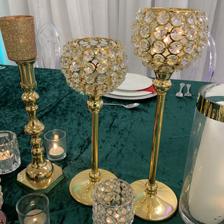 Set of  2 Gold crystal candle holder  2  sets available