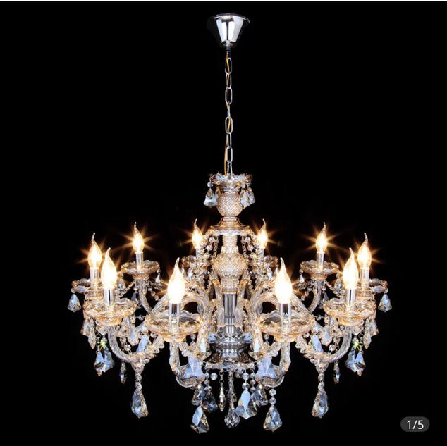 Glass 10 bulbs Crystal Chandelier