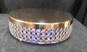 "13"" Gold Crystal cake stand"