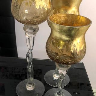 Gold 3 pieces vase set 8 sets available