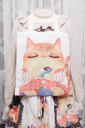 Private Plus - Ginger Cat Tote - White