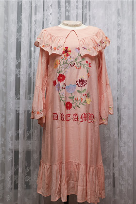 Dear Chestnut - Floral Embroidered Vacation Dress - Peach Pink