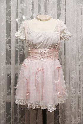 DreamV - Ribbon Overall Skirt - Pink