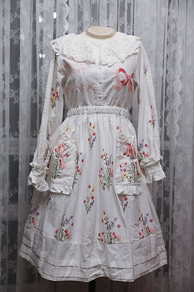 Dear Chestnut - Bow and Floral Embroidered Dress with Lace Collar - White