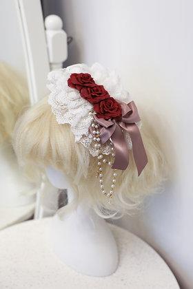 Triple Roses Headdress - White x Wine