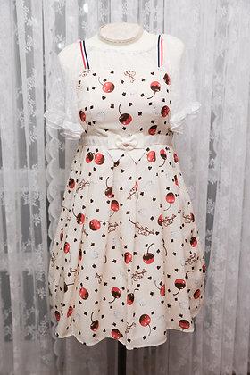 Emily Temple Cute - Melty Cherry Waist Ribbon Dress - Ivory
