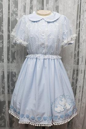 Kidsyoyo - Little White Cloud OP+Bloomers+Headdress Set - Blue