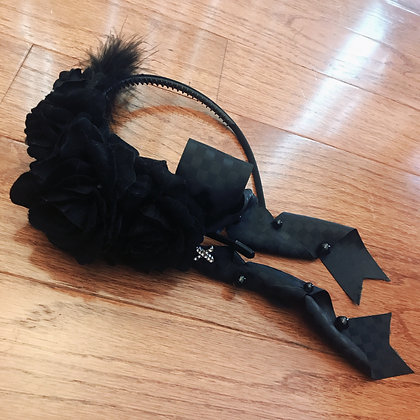 Off-brand Handmade - Roses Feather and Bow Headband - Black
