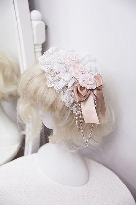 Triple Roses Headdress - White x Beige