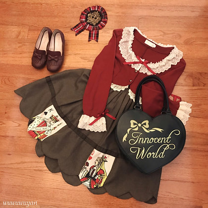 Innocent World - King of Spades and Queen of Hearts Skirt - Brown