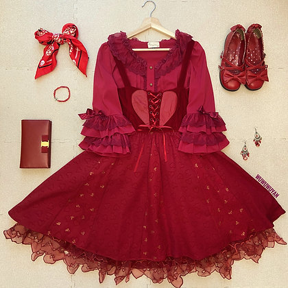 Hot Topic x Disney - Alice Through The Looking Glass Red Queen Heart Dress - Red