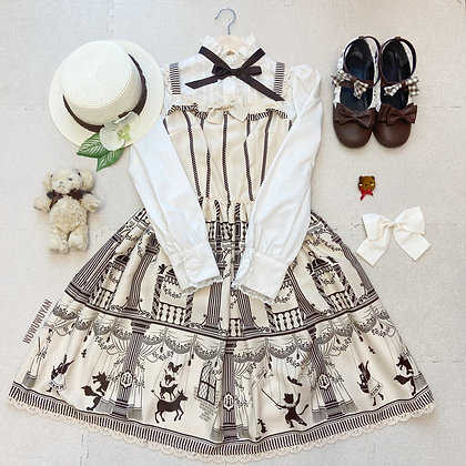 Innocent World - Marionette Theater Frill JSK - Beige x Chocolate