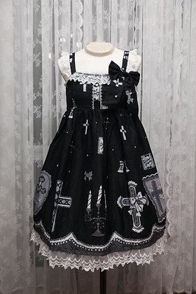 Diamond Honey - Sweet Lace Cross JSK - Black x White