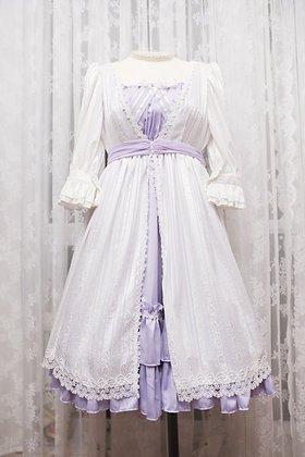 Surface Spell - Obscure Jacquard Chiffon OP - White x Lavender