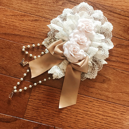 Off-brand Handmade - Triple Roses Headdress - White x Beige