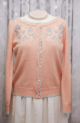 Aegean Sea - Floral Embroidered Cardigan - Peach Pink