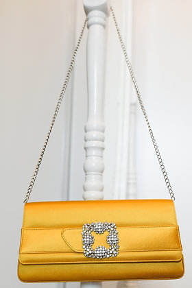 Manolo Blahnik - Gothisi Yellow Satin Jewel Buckle Clutch