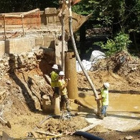Contractor at Bridge South Abutment drilled 3-Caissons and poured at 20-feet and 18-feet depth.