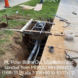 PL Pole/Bank Out foundation and conduit from PEPCO MH-568317.(16th. St, Rt,sla5106+80 to 5107+82)(Partial)