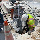 Hammering existing TS4 foundation for removal. (SE 16th. & Columbia)