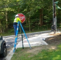 Contractor at Phase 3 placed post and signs fixture per plan.