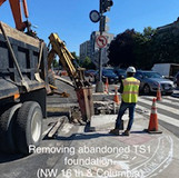Removing abandoned TS1 foundation. (NW 16th. & Columbia)
