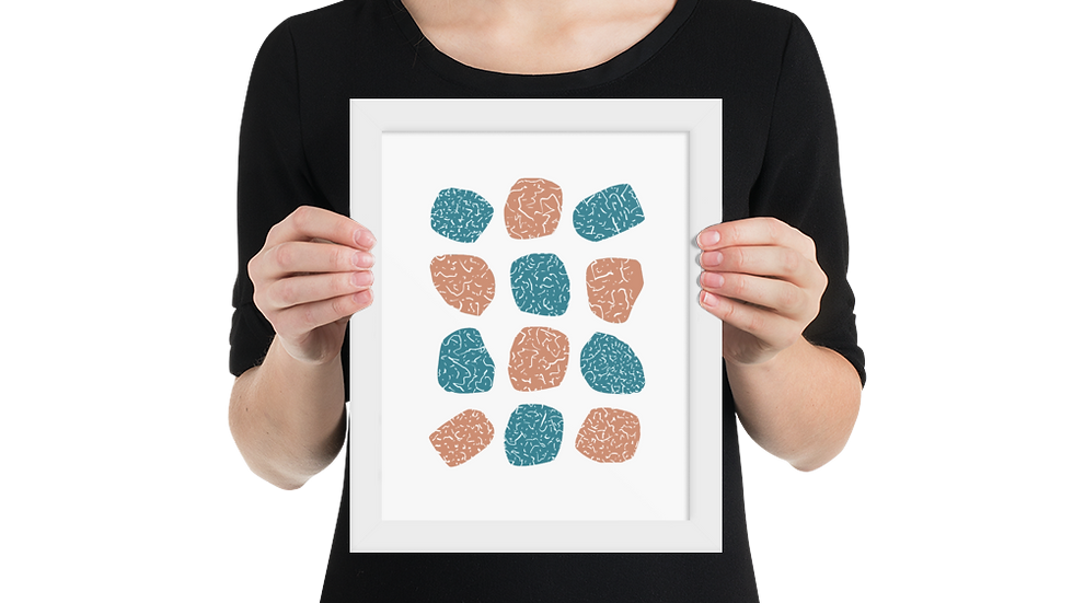 Framed poster: Modern, turquoise and pink abstract wall art, 8x10 up to 24x36