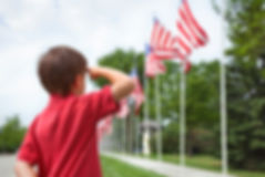 young-boy-salutes-row-of-american-flags-