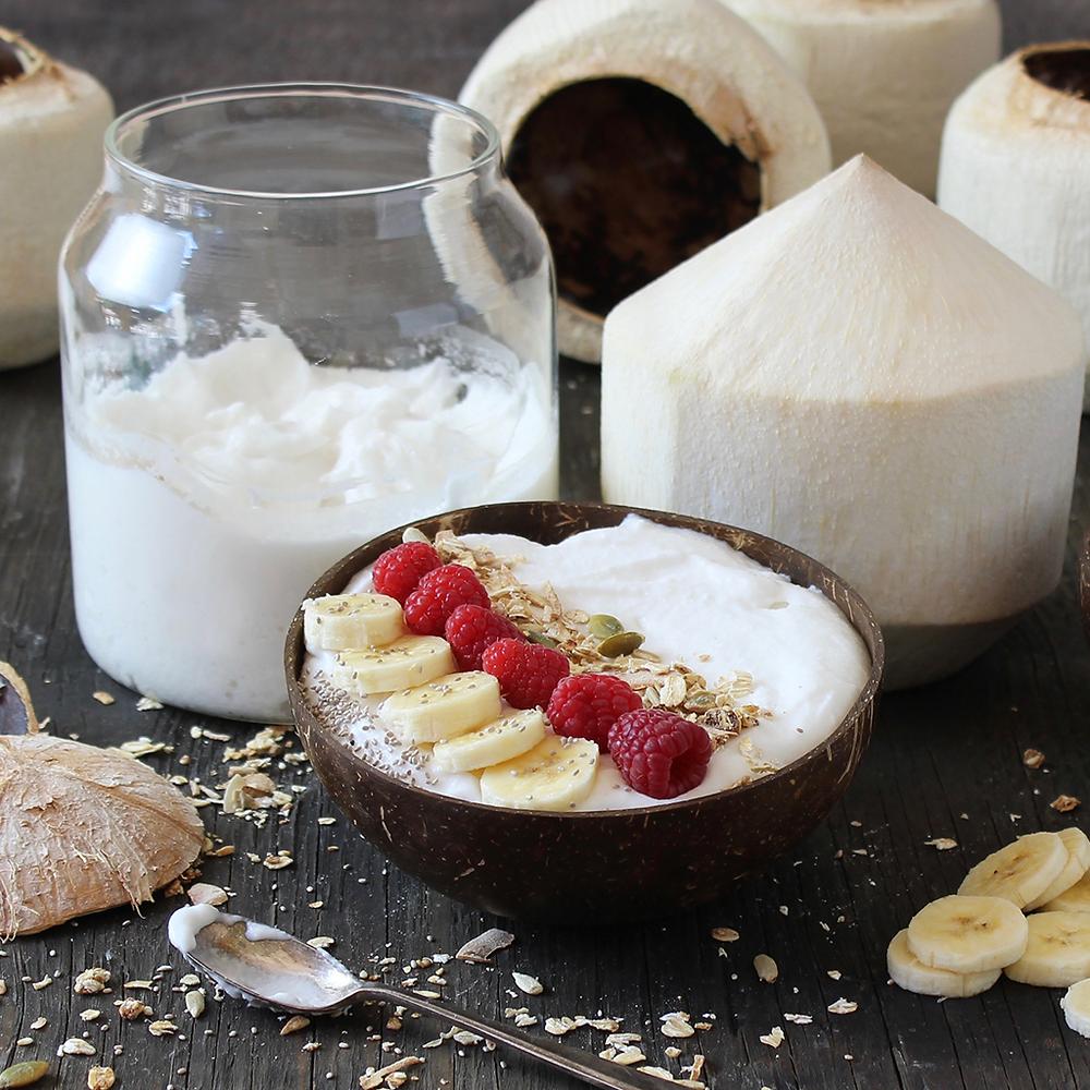 Yogur de coco casero usando solo 2 ingredientes.