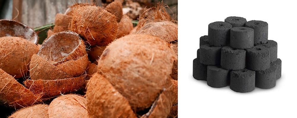 Briquetas ecológicas hechas con cáscaras de Coco
