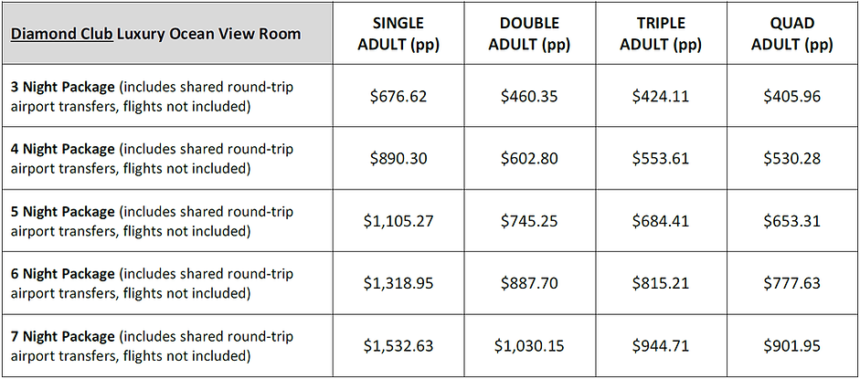 Diamond Club Luxury Ocean View Room Rate