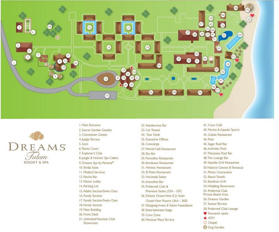 All Inclusive Dreams Tulum Resort Mexico Map