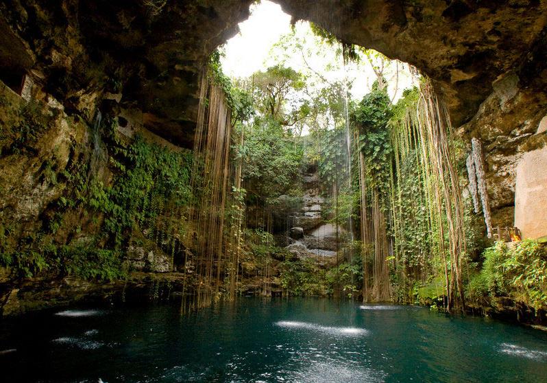 Cenote in Cancun Riviera Maya Mexico
