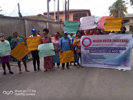 NIGER DELTA WOMEN IN DIALOGUE PROTEST TO NDDC OFFICE IN WARRI: CEPEJ'S REPRESENTATIVE IN ATTENDANCE