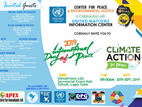 International Day of Peace: CEPEJ Lagos Office Collaborates With United Nations Information Center